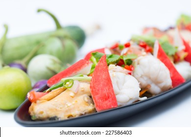 Thai sea food salad with white background