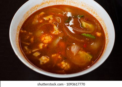 Thai seafood tomyam soup in a bowl