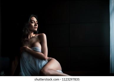 thai sexy model art style emotion concept on dark background