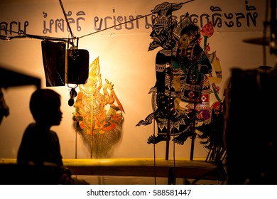 Thai  shadow puppet playing  in the temple for Thai culture to tale the story by puppets in Thailand Asia style