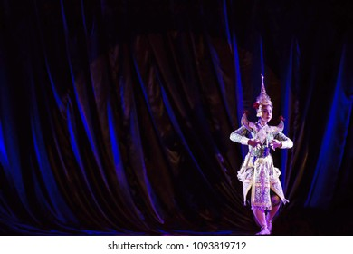 Thai show performance called Khon, kind of Thai drama,It is Thai traditional drama dance performance in masked.