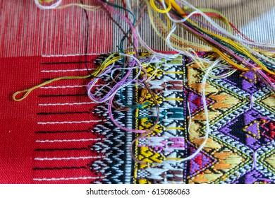 Thai silk produced by traditional loom