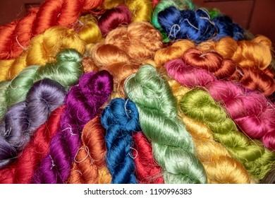 thai silk skeins in different vibrant colors