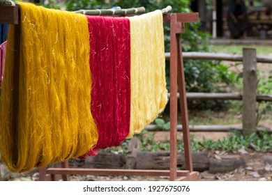 Thai silkworm cocoons and silk thread are a distinct colorful color and Japanese silk thread is white color and beautiful silk threads are handmade