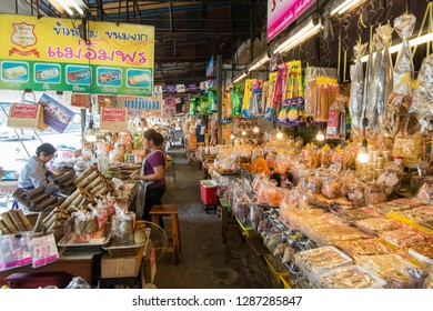 thai snacks at the city market at the mainroad at the city Market in the Town of Bangsaen in the Provinz Chonburi in Thailand.  Thailand, Bangsaen, November, 2018