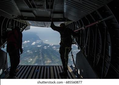 Thai soldiers parachute drill at 41th Army Field,Nakhon si thammarat ,Thailand