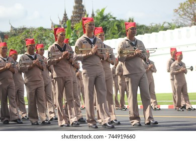 Thai soldiers practice the procession of His Majesty King Bhumibol Adulyadej at Sanam Luang on October 15 2017