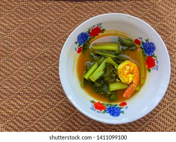 Thai Sour soup with shrimp and water mimosa,thai food