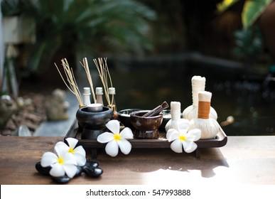 Thai Spa scrub treatment and massage, sea brown background, Thailand.