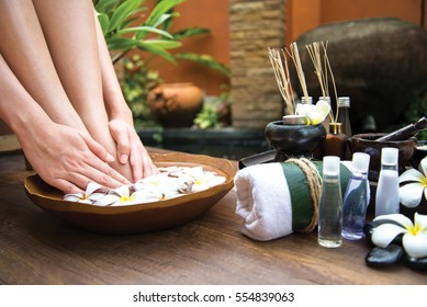 Thai Spa treatment and product  body care for female pedicure foot or feet and manicure toe spa in water, Thailand. Healthy Concept