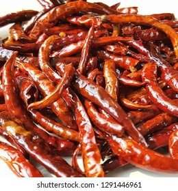 Thai spicy Flavouring , fried red chilli - top view close up