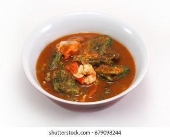 Thai Spicy Food : Acacia omelets and fresh shrimp in Spicy sour herbal soup (Kang Som)