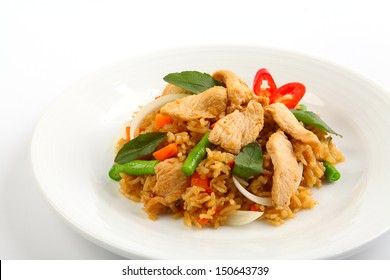 Thai spicy food basil chicken fried rice recipe (Krapao Gai)