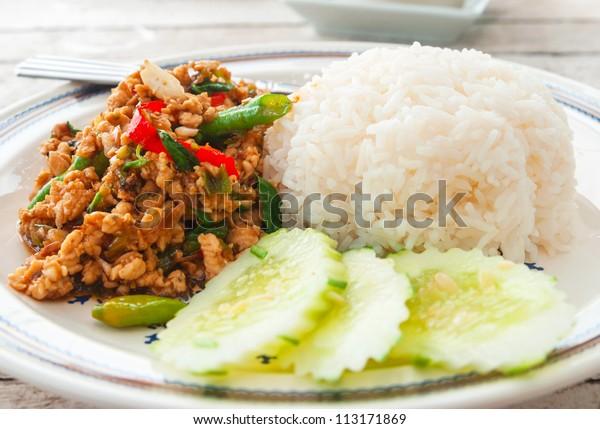 Thai spicy food basil chicken fried rice recipe (Krapao Gai)