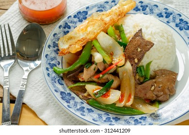 Thai spicy food liver fried rice recipe