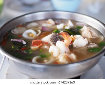 Thai Spicy herbal seafood soup