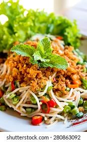 Thai spicy rice vermicelli salad