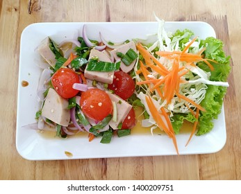 Thai Spicy Salad with Salted Egg Yolk and Cha lua (Steamed Pork Roll)