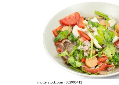 Thai Spicy Seafood Salad with vermicelli or ,yam wun sen,on white isolate background