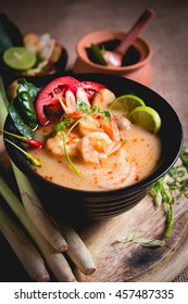 Thai spicy and sour soup with prawn (Tom Yum Goong), popular Thai cuisine