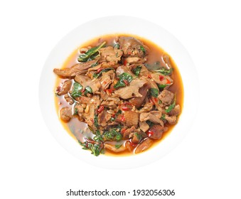 Thai spicy stir-fried duck and basil in ceramic dish isolated on white background,Favorite streetfood from Thailand