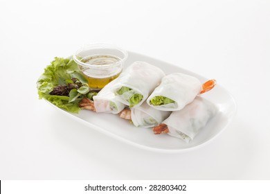 Thai spring rolls with herbs and shrimp isolated on white background