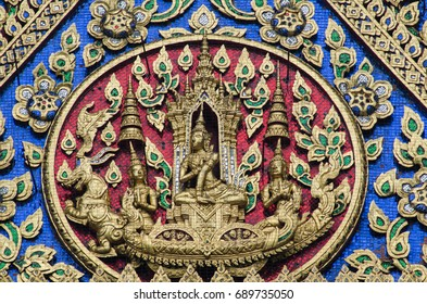 Thai statuary with color tile