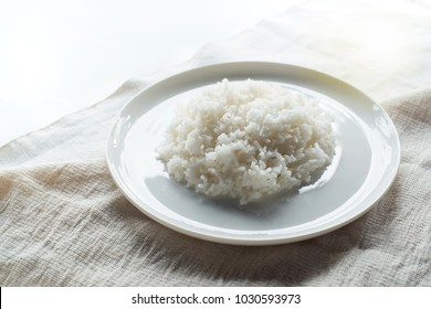 Thai steamed rice on dish