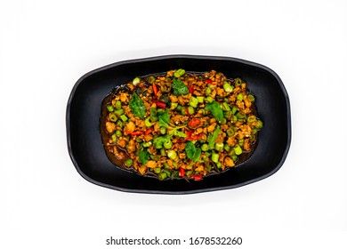 Thai Stir fried pork with basil and chili, Thai Racipe on white background