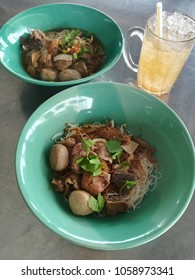 Thai street food meat balls rice vermicelli.