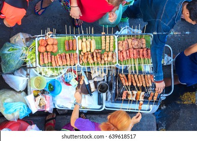 Thai street food vendor  capture from tip view in Bangkok, Thailand