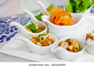 Thai style appetizer on white plate