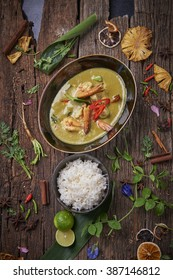 Thai Style Chicken Green Curry served with steamed rice