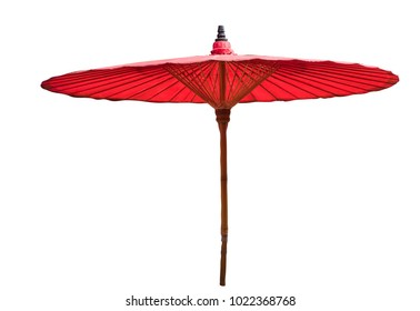 Thai style fabric umbellra with wooden handle mostly seen at the beach