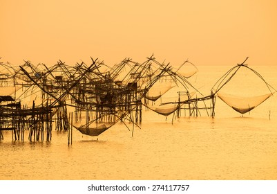 Thai style fishing trap in Pak Pra Village, Net Fishing Thailand, Thailand Shrimp Fishing, Phatthalung, Thailand.