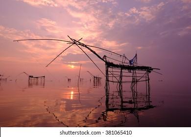 Thai style fishing trap in Pak Pra Village Phatthalung, Thailand.