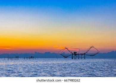Thai style fishing trap in Pak Pra Village, Net Fishing Thailand, Thailand Shrimp Fishing, Phatthalung, Thailand
