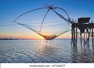 Thai style fishing trap in Pak Pra Village, Net Fishing Thailand, Thailand Shrimp Fishing, Phatthalung, Thailand.