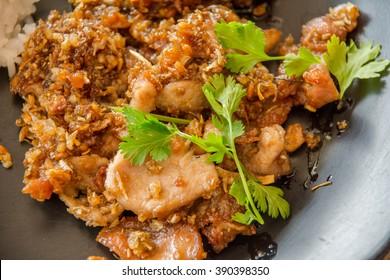 Thai style food, pork fried with crunchy garlic,soft focus.