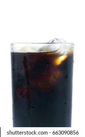 Thai style iced black coffee on white background