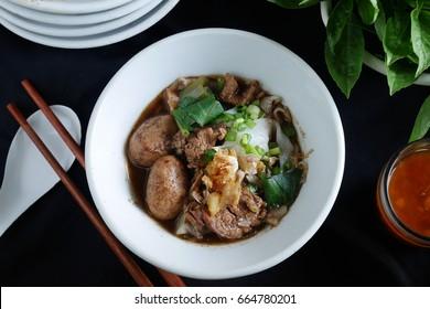 Thai style  noodle blood soup,boat noodle,delicious dish,famous Thai noodle soup