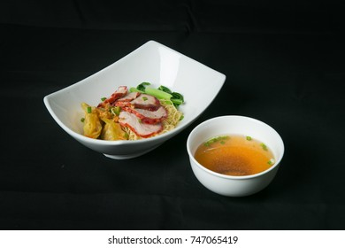 Thai style noodle with pork and vegetables and soup