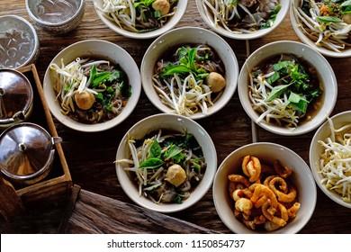 Thai style noodle soup , Boat culture noodles style