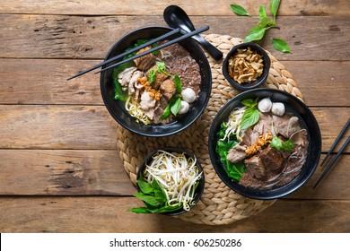 Thai style noodle soup , Boat culture noodles style.