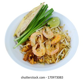 Thai style noodles (Pad Thai) isolated on white background