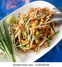 Thai style noodles. Noodles stired with peanut, tofu, egg and small dry shrimp. Padthai is famous thai cuisine. Street food