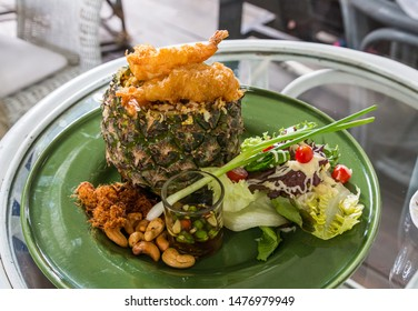 Thai style pineapple fried rice with fried shrimp and cashew