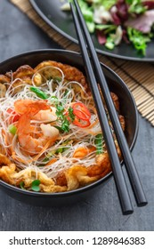 Thai style rice noodles salad with shrimps and omelette, cloxe view selective focus
