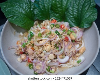 Thai Style Spicy Lemongrass Salad with Dried Shrimp and Herbs.