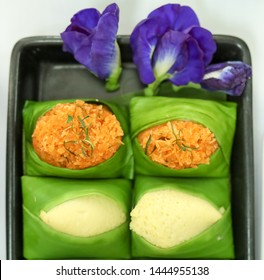 Thai style sweet desserts Two types on sticky rice, Sank ka ya made from eggs and coconut milk and shrimp and shred coconut orange color